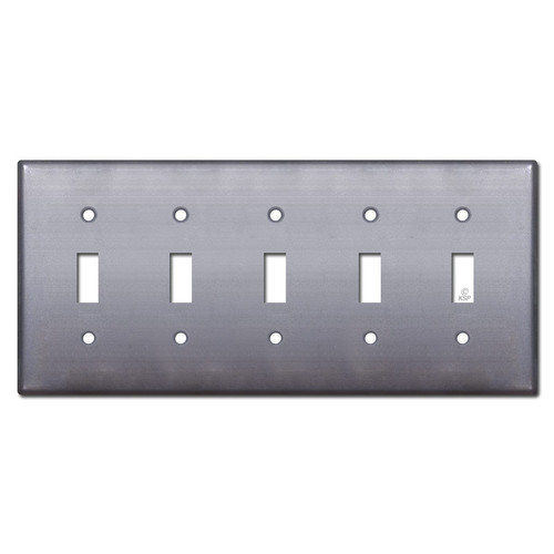 5 Toggle Switch Plate Cover - Raw Steel Paintable