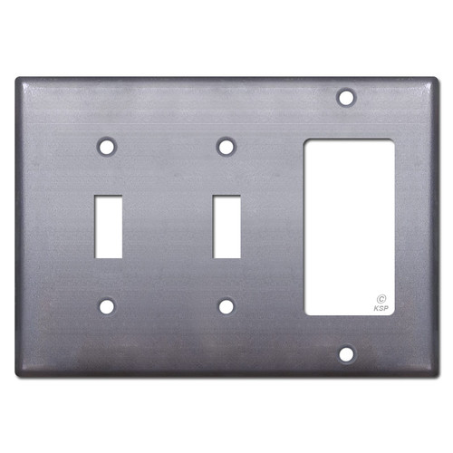 2-Toggle 1-Decora Switch Plate - Raw Steel Paintable