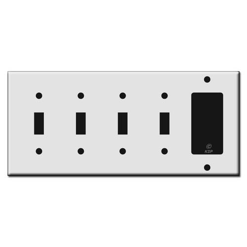 4 Toggle 1 GFCI Plastic Switch Plate