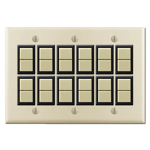 GE Low Voltage New Style 3-Gang 12 Switch Master Cover Set - Ivory
