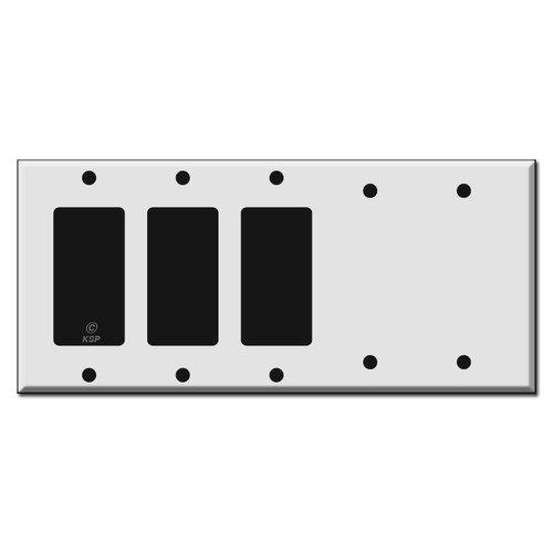 5-Gang 2-Blank 3-Decora Light Switch Outlet Covers