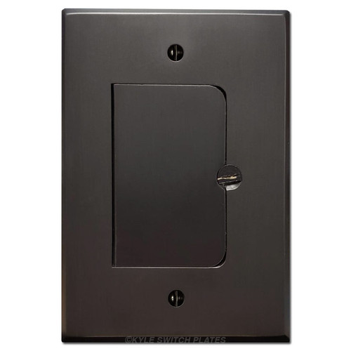 Hinged Decor Floor Outlet Cover - Dark Bronze Plated Brass