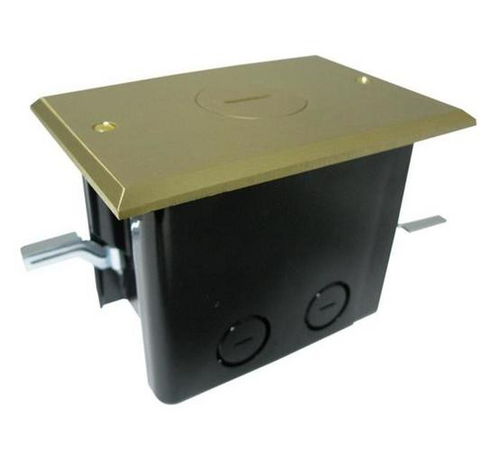 Recessed Electrical Floor Box - Single Outlet + Brass Plate