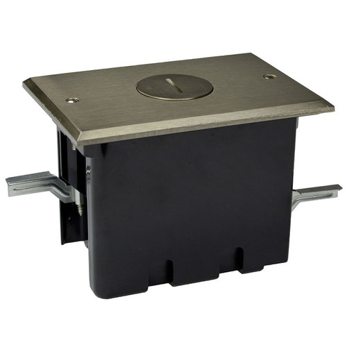 Recessed Floor Box Single Electrical Receptacle - Nickel Cover