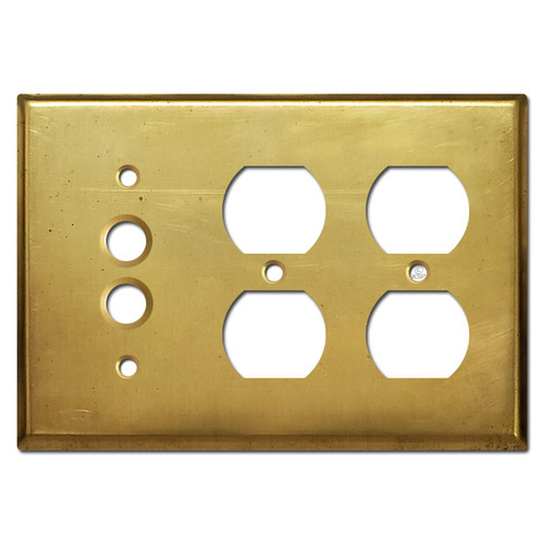 Pushbutton Double Duplex Outlet Cover Plate - Raw Brass