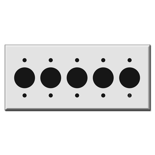 5-Gang Single Outlet Wall Plates 1.4'' Round Holes