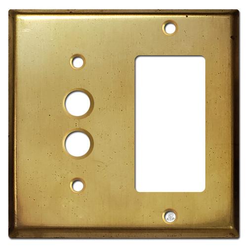 1 Decor 1 Pushbutton Wall Switch Plate - Raw Brass