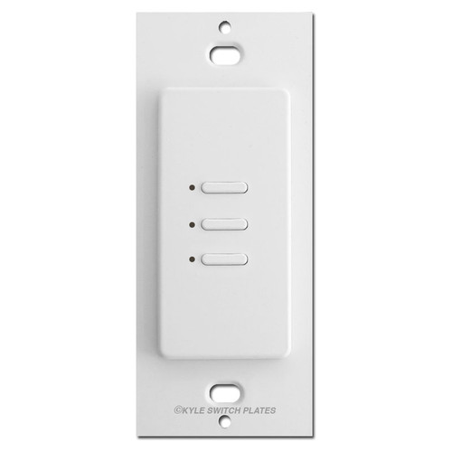 Touch Plate Ultra 3 Button LED Low Voltage Light Switch - White