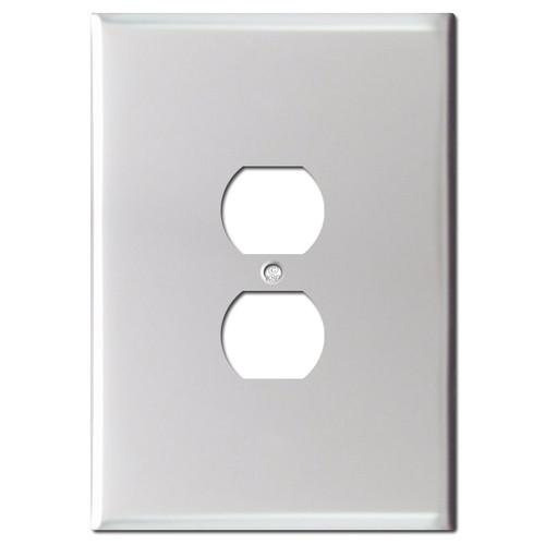 Jumbo 6.38'' Duplex Receptacle Plate - Brushed Aluminum