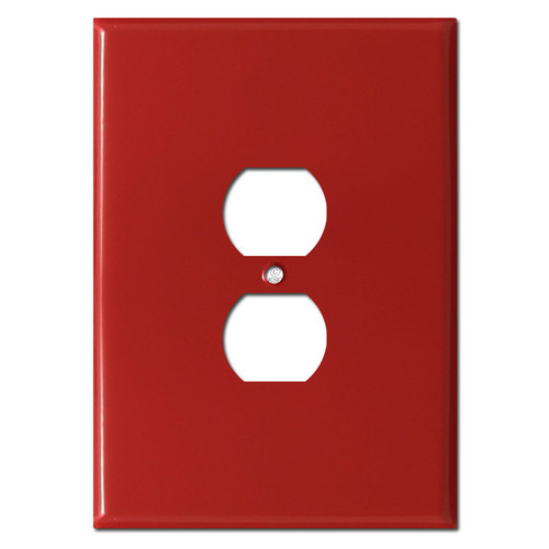 Extra Jumbo 6.38'' Duplex Receptacle Wall Plate - Red