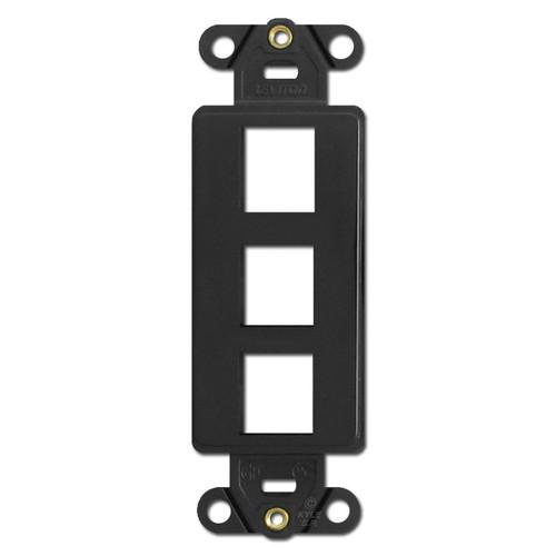 Black Leviton 3 Port Frames for Modular Jack Adapters