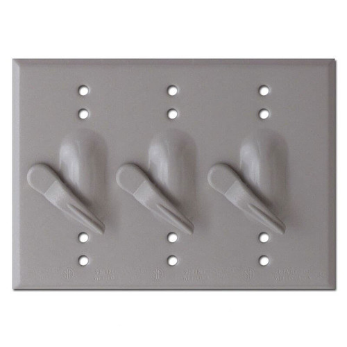 Weatherproof 3 Toggle Electrical Switch Plates - Aluminum