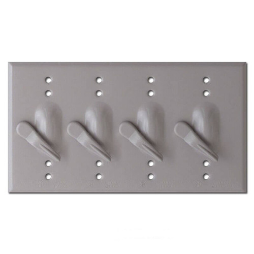 Weathersafe 4 Toggle Electrical Switch Plates - Gray
