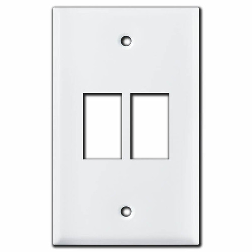 Vertical 2-Switch New Style GE Low Voltage Cover - White