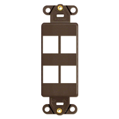 Brown Leviton 4 Port Frame for Modular Jack Adapters