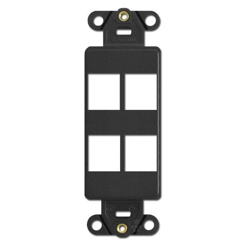 Black Leviton 4 Port Frame for Modular Jack Adapters