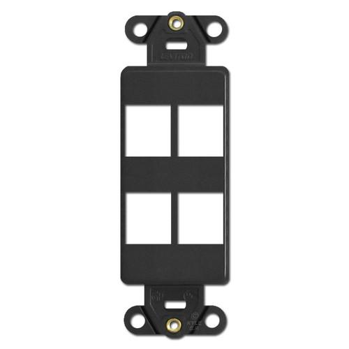 Black Leviton 4 Port Frame for Modular Jack Adapters