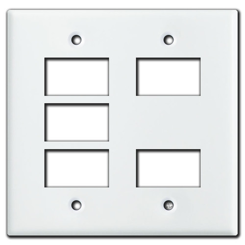 New Style GE 2 Gang Low Voltage 5 Switch Wallplate - White