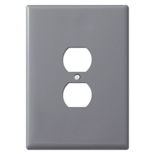 Extra Large 6.38'' Duplex Electrical Plug Plate - Gray