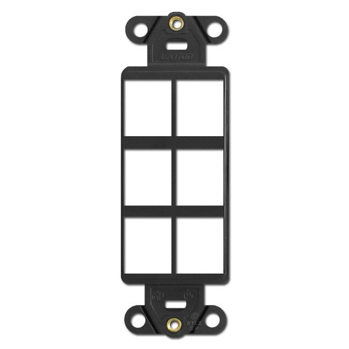 Black Leviton 6 Port Frame for Modular Jack Adapters