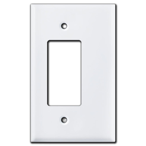 3/8'' Half Trim Jumbo GFI Outlet Rocker Switch Plate - White