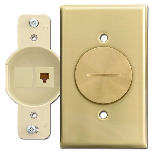 Leviton Floor Mount RJ11 Phone Jack, Brass Switch Plate