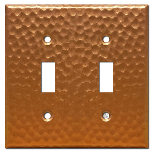 2 Toggle Light Switch Cover - Hammered Copper