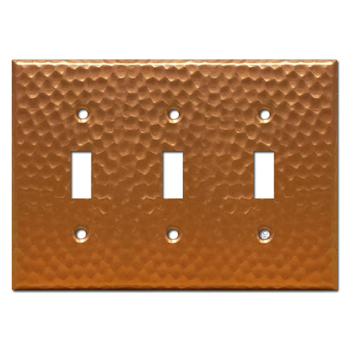 3 Toggle Light Switch Plate - Hammered Copper