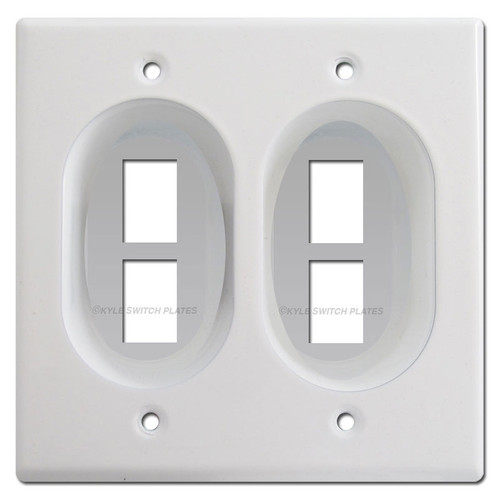 Recessed 2-Gang 4-Port Keystone Data Jack Wall Plates