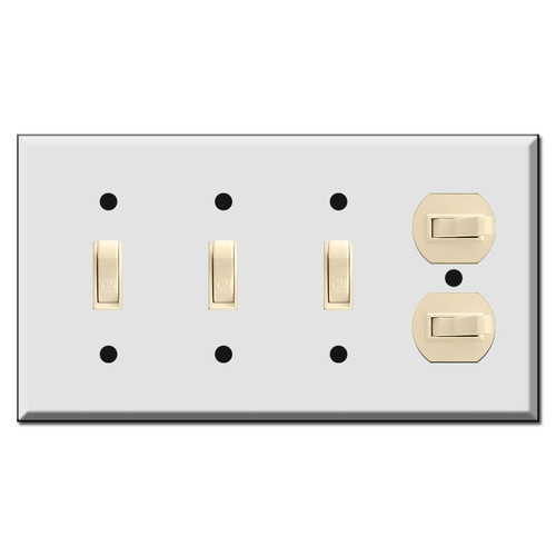 4-Gang 5-Toggle Switch Plates - Vertical & Horizontal Flip