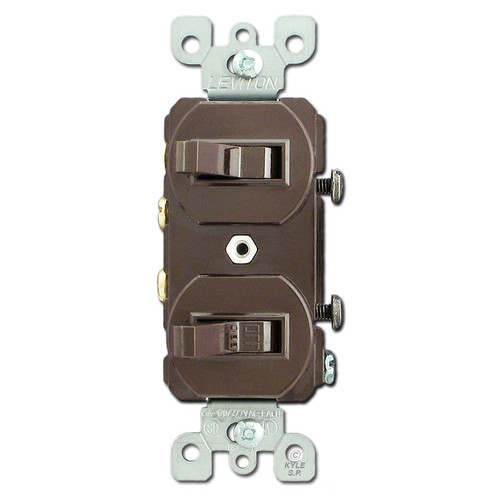 Brown Dual Toggle Switch - 2 Single Pole Toggles