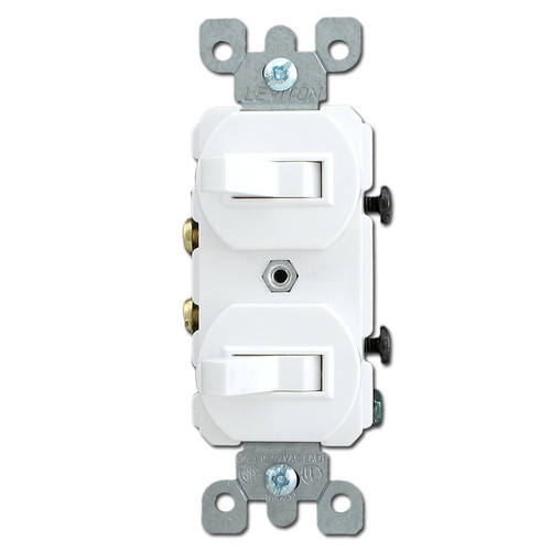 White Horizontal Toggles - 2 Single Pole Toggle Switches