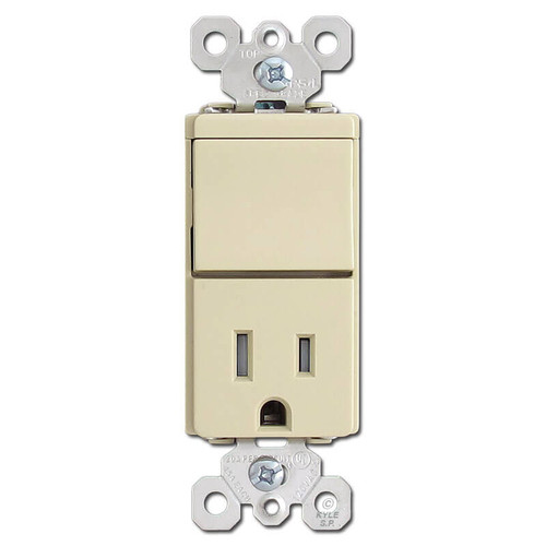 Ivory 3 Way Rocker and Electrical 15A Outlet Device