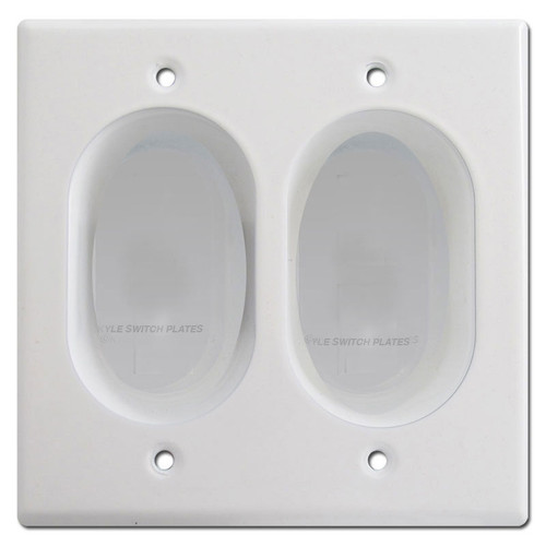 Recessed 2-Gang Blank Wall Plate Cover - White