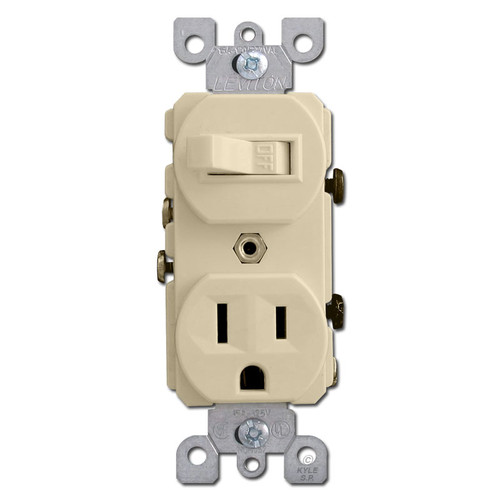 Ivory Duplex Outlet & Toggle Switch Combination