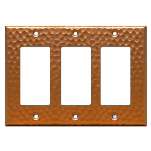 3 Decor Rocker Light Switch Plate - Hammered Copper