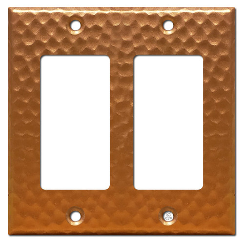2 Decora Rocker Wall Plate Cover - Hammered Copper