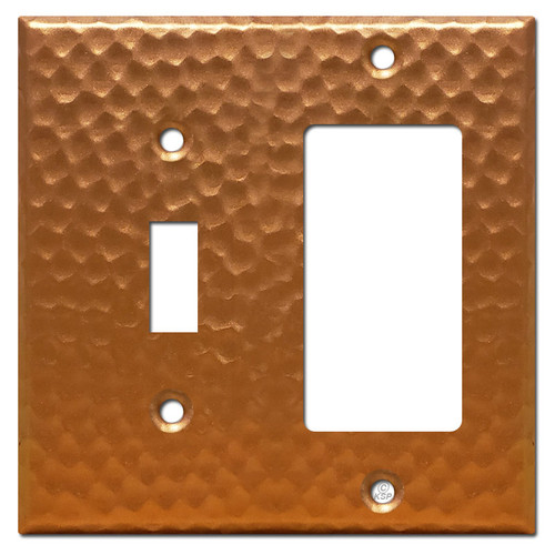 1 Decora GFI 1 Toggle Light Switch Plate - Hammered Copper