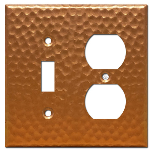 1 Duplex Outlet 1 Toggle Switch Cover - Hammered Copper