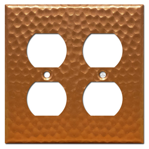 2 Duplex Outlet Receptacle Cover - Hammered Copper