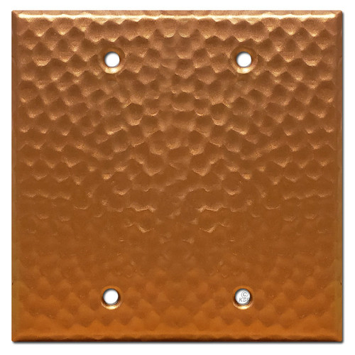2 Blank Electrical Cover Wall Plate - Hammered Copper