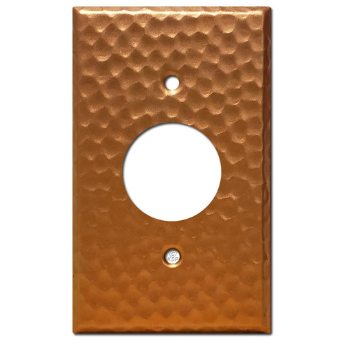 Round Outlet Cover Plate - Hammered Copper