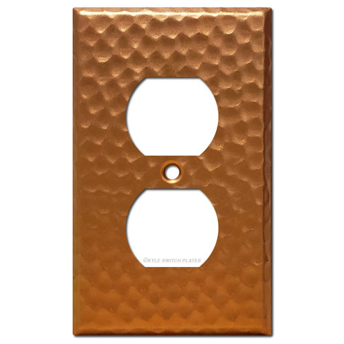 Duplex Electrical Outlet Cover Plate - Hammered Copper