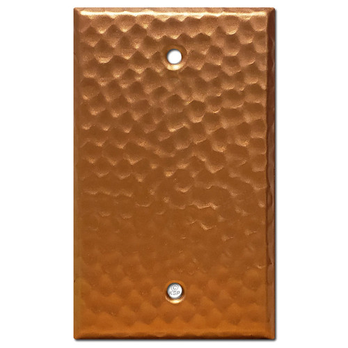 Blank 1-Gang Electrical Cover Wallplate - Hammered Copper