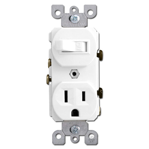 White Duplex Outlet and Toggle Switch Combo
