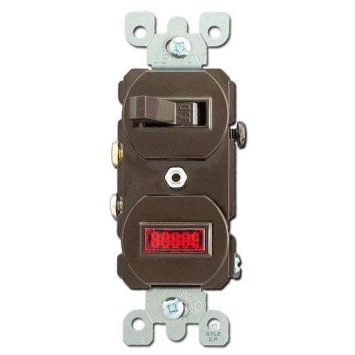 Brown Duplex Toggle Switch with Pilot Light