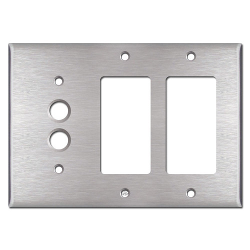 1 Push Button 2 Decora Outlet Cover - Satin Stainless Steel