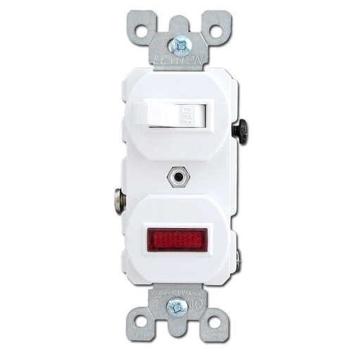 White Combo Duplex Toggle Switch, Pilot Light