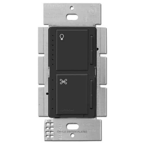 Lutron Stacked CFL LED Dimmer + Fan Control Maestro - Black