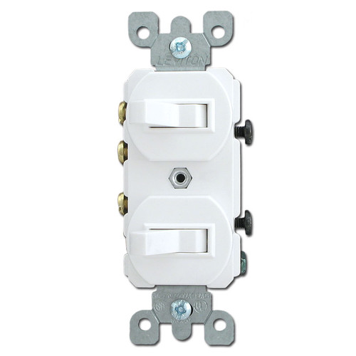 White Single Pole & 3 Way Horizontal Toggle Switches